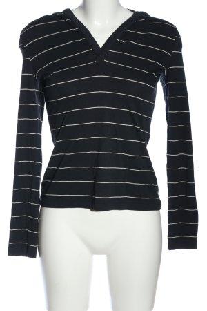 René Lezard Top à capuche blanc-noir motif rayé style décontracté