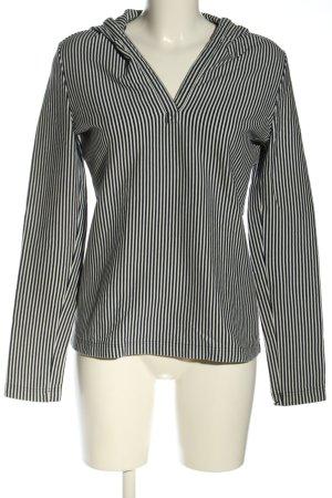 René Lezard Capuchon sweater zwart-wit gestreept patroon casual uitstraling