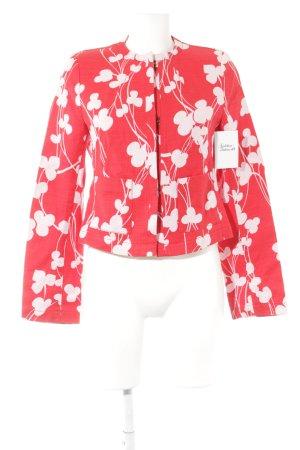 René Lezard Kurz-Blazer rot-rosé florales Muster Elegant
