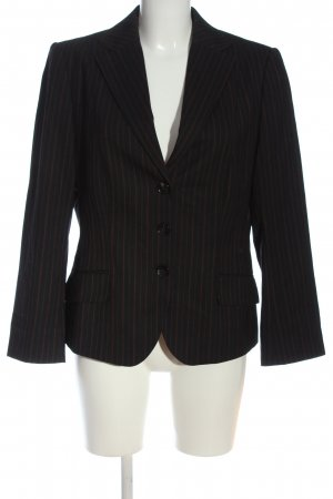René Lezard Korte blazer zwart-bruin gestreept patroon zakelijke stijl