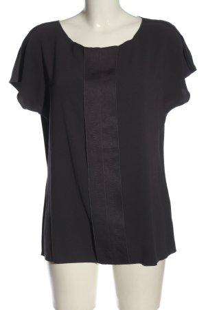 René Lezard Blouse à manches courtes noir-taupe tissu mixte