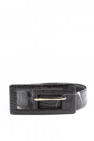 René Lezard Faux Leather Belt black animal pattern casual look