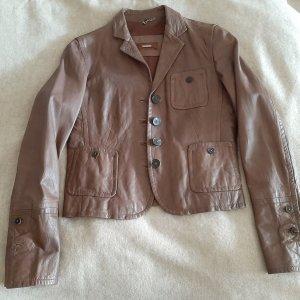 René Lezard Leather Jacket cognac-coloured