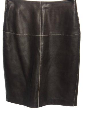 René Lezard Skórzana spódnica brązowy W stylu biznesowym