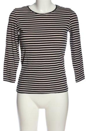 René Lezard Longsleeve black-natural white striped pattern casual look