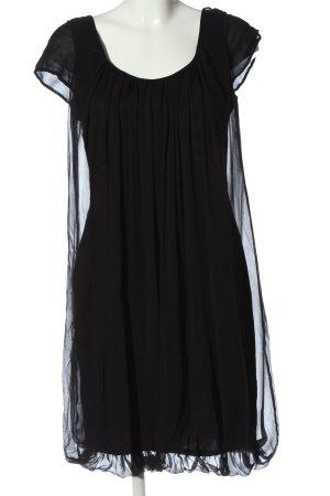 René Lezard Vestido de manga corta negro elegante