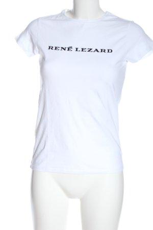 René Lezard Camiseta estampada blanco-negro letras impresas look casual