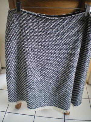 René Lezard Fringed Skirt dark blue-natural white cotton