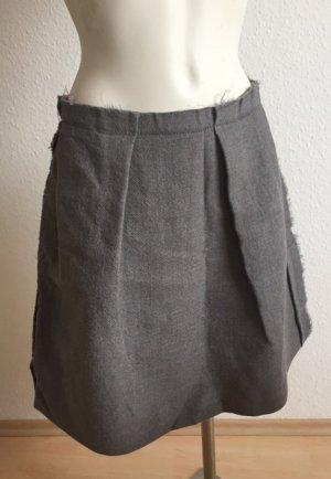 René Lezard Fringed Skirt silver-colored-dark grey