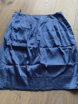 René Lezard Jupe en soie bleu fluo-blanc soie