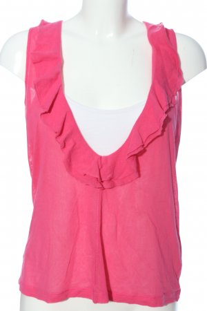 René Lezard Rüschen-Bluse pink-weiß Casual-Look