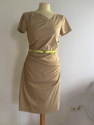 René Lezard Sukienka z krótkim rękawem piaskowy brąz Bawełna