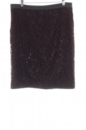 René Lezard Gonna di pizzo nero-bordeaux motivo floreale elegante