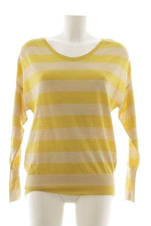 René Lezard Sweatshirt dunkelgelb-hellgelb Streifenmuster Casual-Look