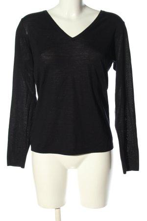 René Lezard V-Ausschnitt-Pullover schwarz Casual-Look