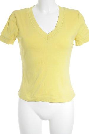 René Lezard V-Ausschnitt-Shirt blassgelb Casual-Look
