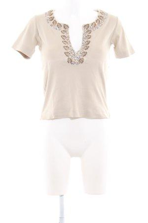 René Lezard V-Ausschnitt-Shirt hellbeige Casual-Look
