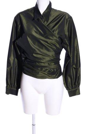 René Lezard Wraparound Blouse khaki casual look