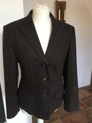 René Lezard Blazer in lana marrone scuro-crema