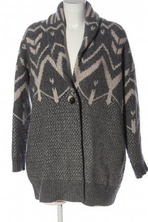 Repeat Cardigan hellgrau-creme grafisches Muster Casual-Look