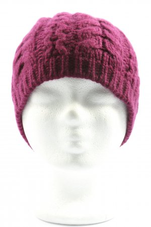 Repeat Cashmere Crochet Cap pink cable stitch casual look