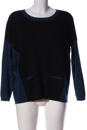 Repeat Rundhalspullover schwarz-blau Casual-Look