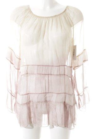 Repeat Transparenz-Bluse creme-altrosa Farbverlauf Casual-Look