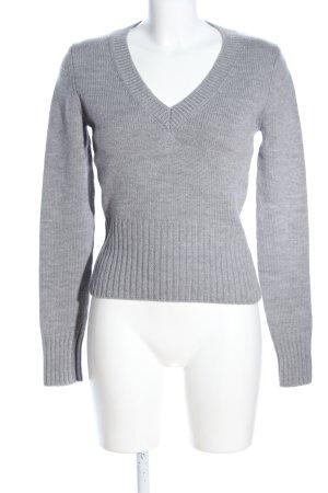 Repeat Maglione con scollo a V grigio chiaro puntinato stile casual