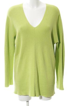 Repeat V-Ausschnitt-Pullover wiesengrün Streifenmuster Casual-Look