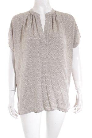 Repeat V-Ausschnitt-Shirt creme-grüngrau abstraktes Muster Casual-Look