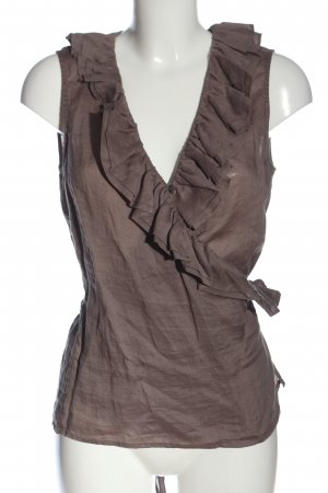 Repeat Wraparound Blouse brown elegant