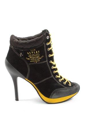Replay Zapatillas con tacón negro estampado temático look casual