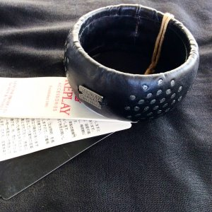 Replay Jonc noir-argenté cuir