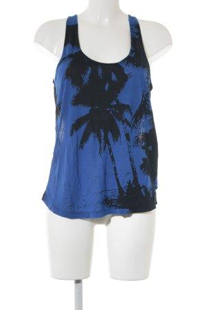 Replay Blouse topje zwart-blauw prints met een thema straat-mode uitstraling