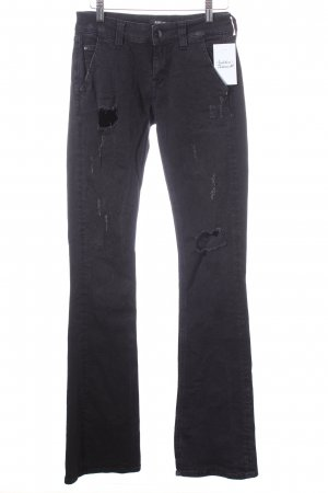 Replay Boot Cut Jeans schwarz Logo-Applikation