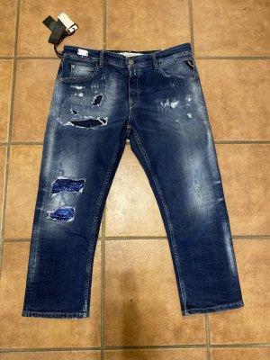 Replay Boyfriend jeans donkerblauw-blauw