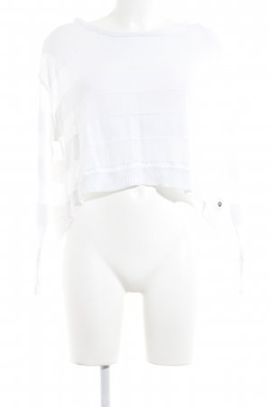Replay Grobstrickpullover weiß Streifenmuster Casual-Look
