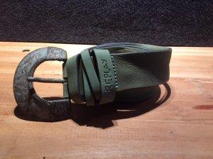 Replay Cinturón de cuero verde claro