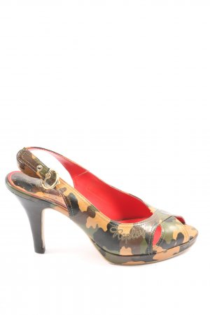 Replay High Heel Sandaletten khaki Camouflagemuster Casual-Look