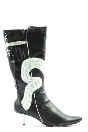 Replay High Heel Stiefel schwarz-weiß Schriftzug gedruckt Street-Fashion-Look