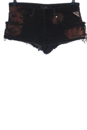Replay Hot Pants schwarz-braun abstraktes Muster Casual-Look