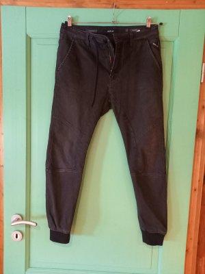 Replay Baggy Pants black mixture fibre