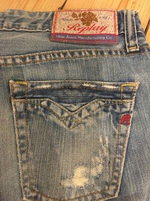 Replay Jeans a zampa d'elefante blu neon Cotone