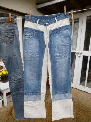 Replay Jeansy o kroju boot cut niebieski neonowy-jasnobeżowy