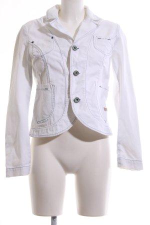 Replay Jeansblazer weiß Schriftzug gestickt Casual-Look
