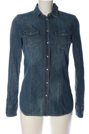 Replay Spijkershirt blauw straat-mode uitstraling