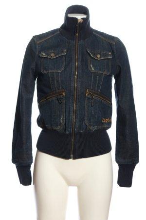 Replay Veste en jean bleu lettrage brodé style décontracté