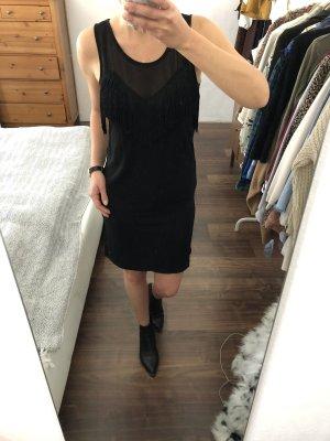 Replay Kleid Midikleid mit Fransen schwarz Gr. XS 34 Neu