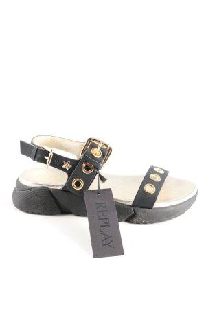 Replay Sandalo comodo nero-crema stile casual