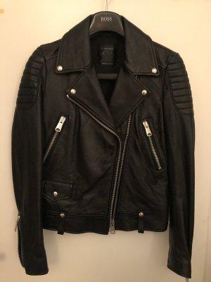 Replay Veste en cuir noir-argenté
